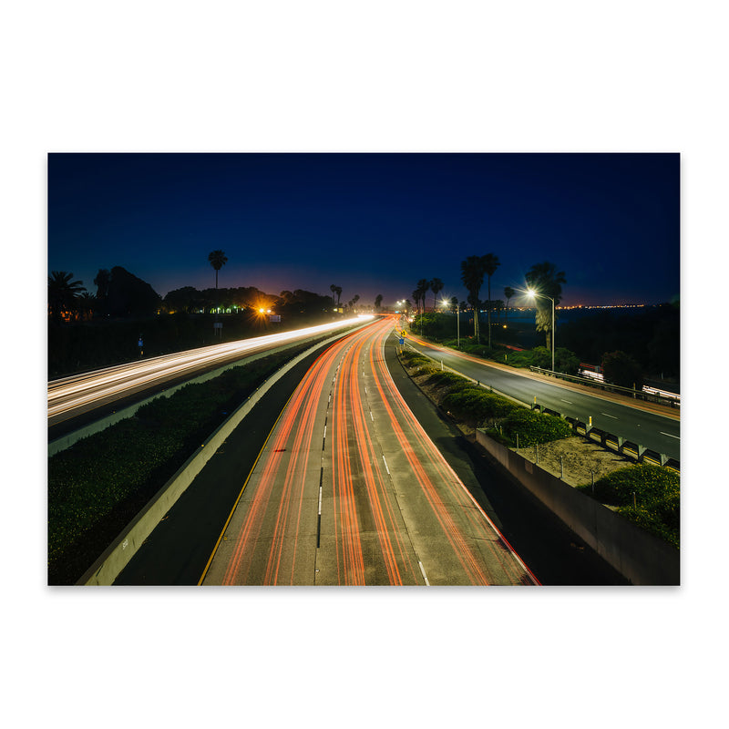 Highway at Night Metal Art Print