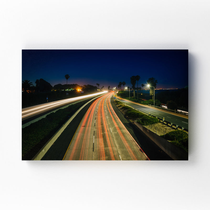 Highway at Night Canvas Art Print