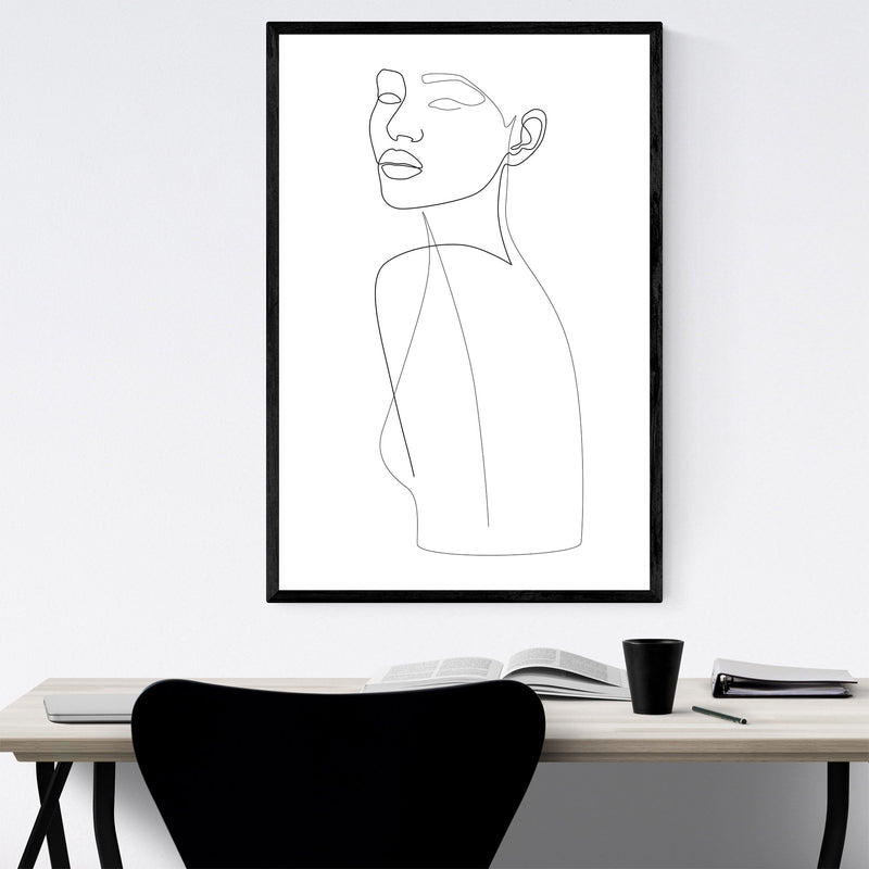 Fashion Feminine Line Drawing Framed Art Print