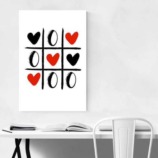 Tic Tac Toe Heart Illustration Art Print