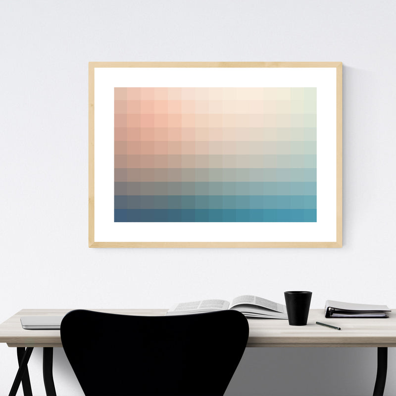 Minimalist Abstract Modern 8-Bit Framed Art Print