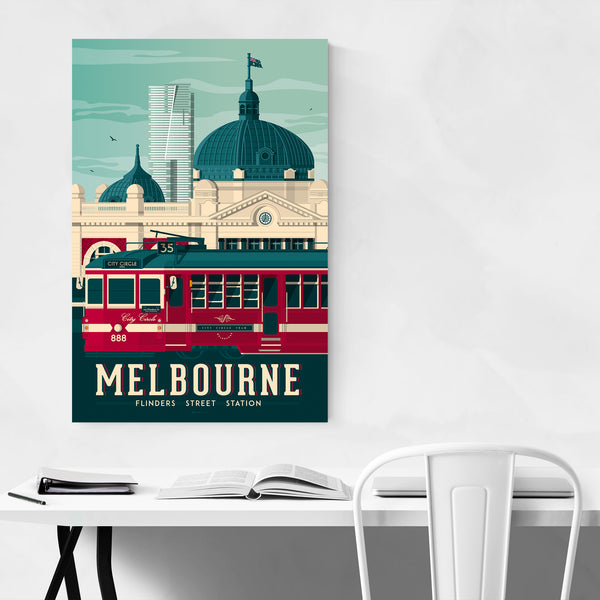 Retro Melbourne Travel Print Art Print