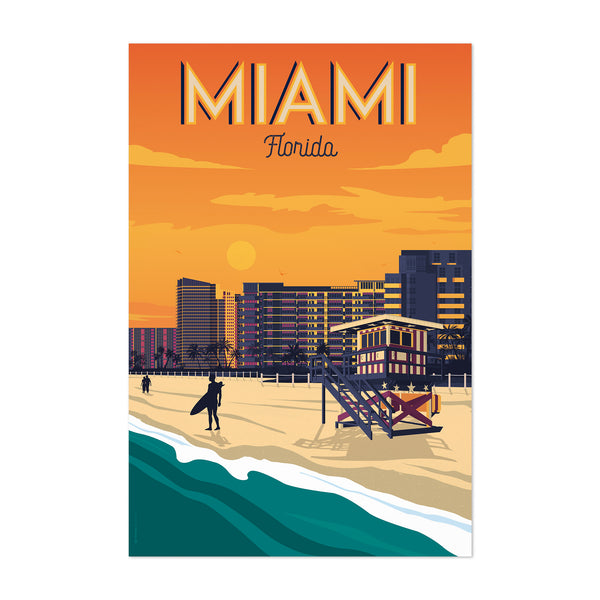 Vintage Miami Travel Print Art Print