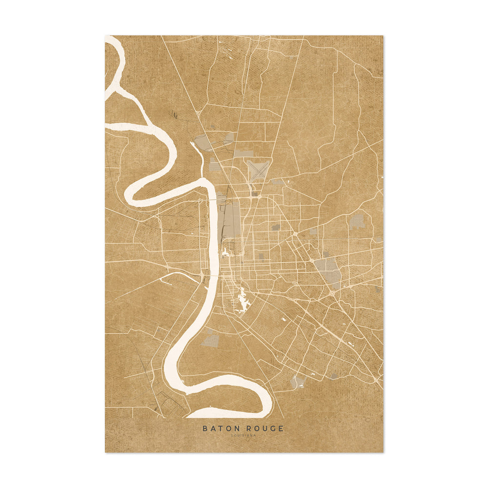 Baton Rouge Sepia City Map Art Print