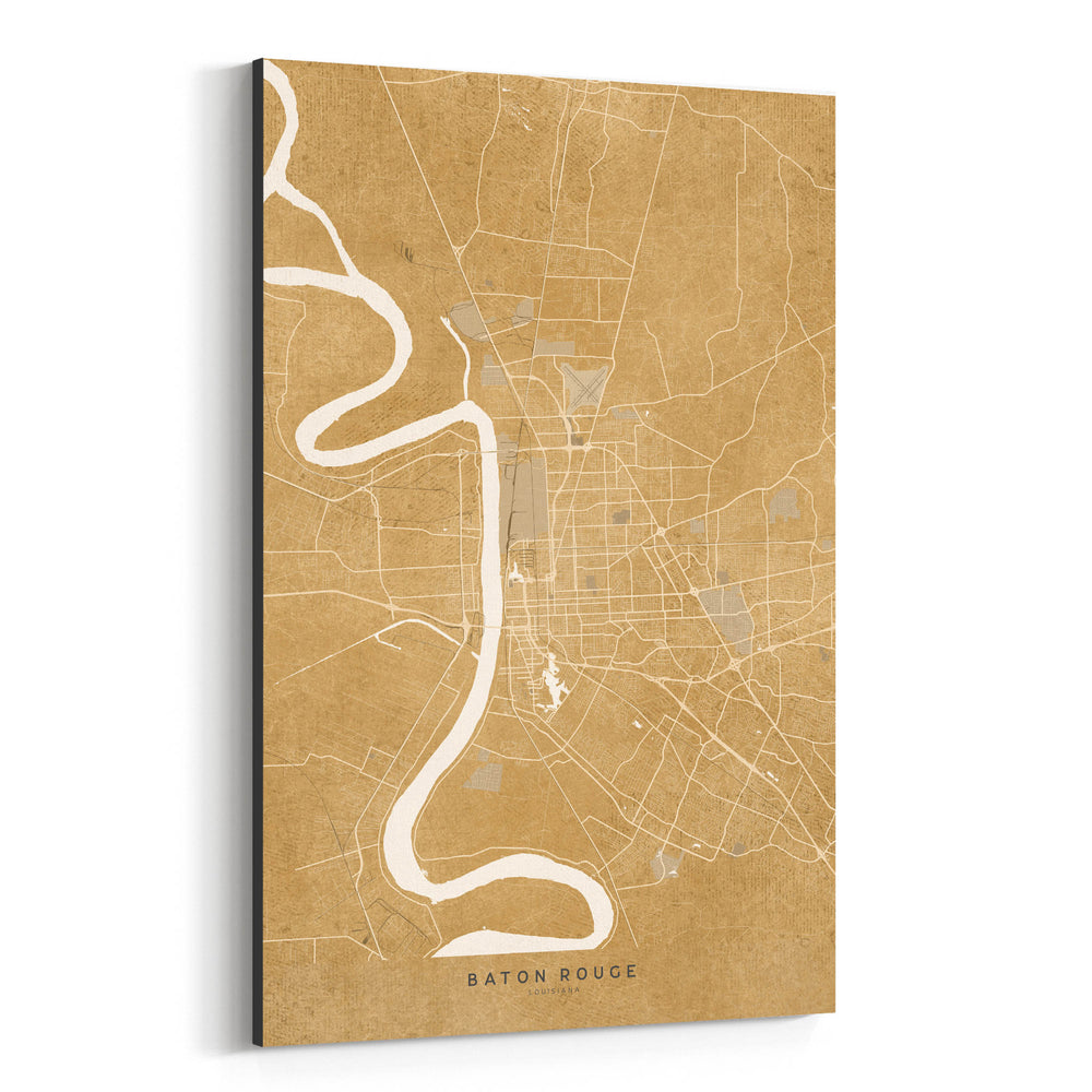 Baton Rouge Sepia City Map Canvas Art Print
