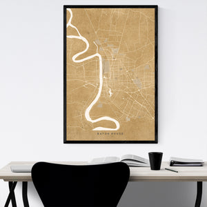Baton Rouge Sepia City Map Framed Art Print