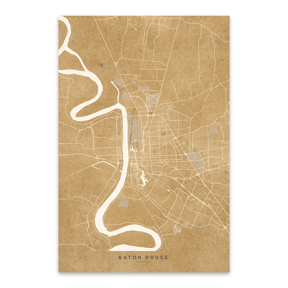Baton Rouge Sepia City Map Metal Art Print