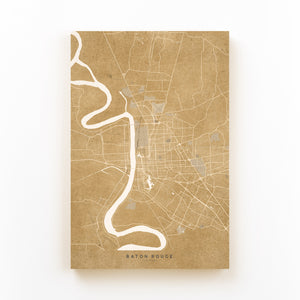 Baton Rouge Sepia City Map Mounted Art Print