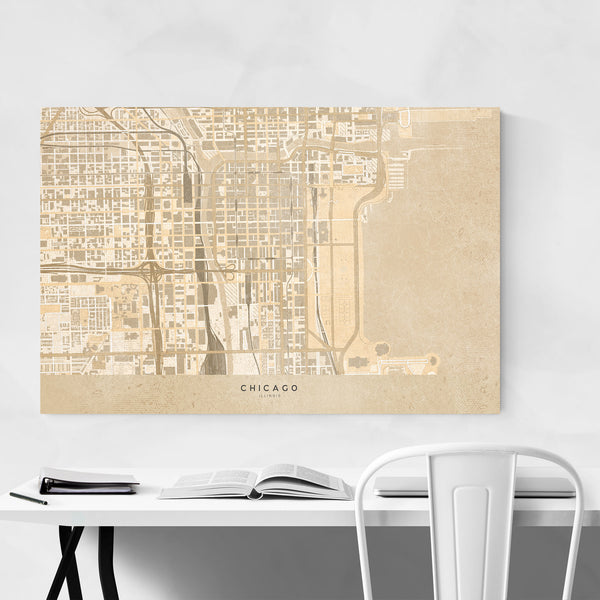 Minimal Chicago Sepia City Map Art Print