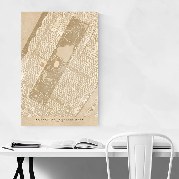 Tan Manhattan New York City Map Art Print