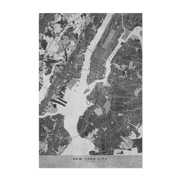 Minimal Gray New York City Map Art Print