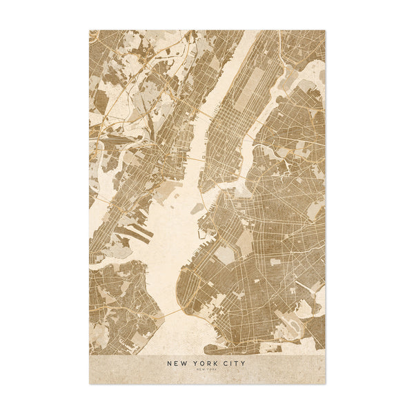 Minimal Sepia New York City Map Art Print