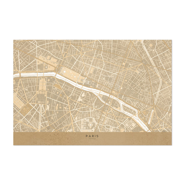 Minimal Sepia Paris City Map Art Print