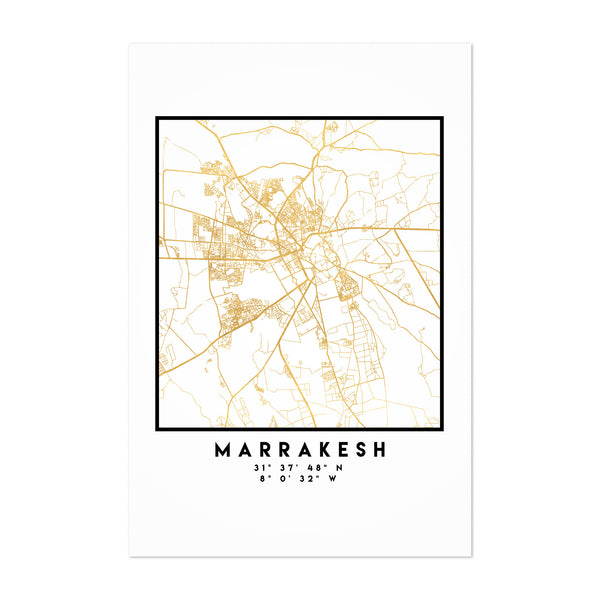Minimal Marrakesh City Map Art Print