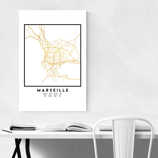 Minimal Marseille City Map Art Print