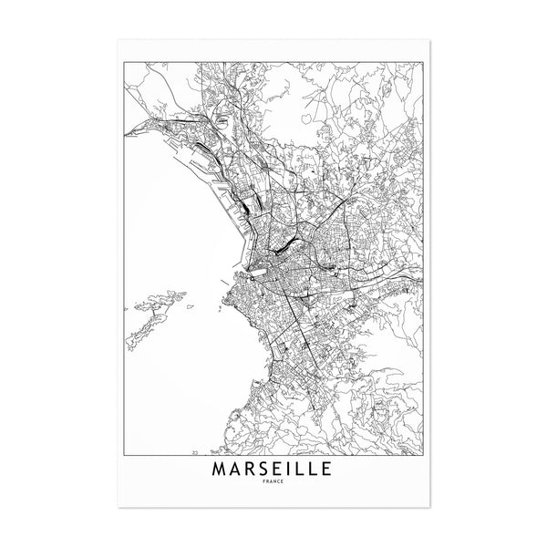 Marseille Black & White City Map Art Print