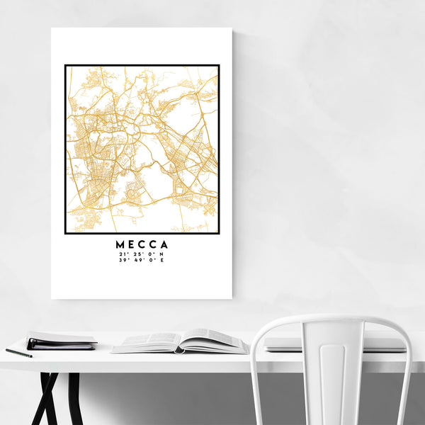 Minimal Mecca City Map Art Print