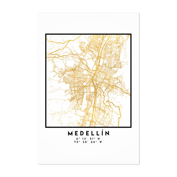 Minimal Medellin City Map Art Print
