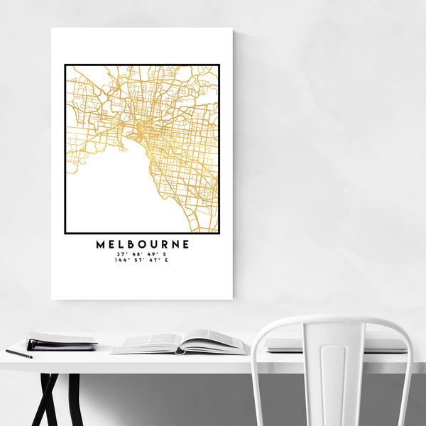 Minimal Melbourne City Map Art Print