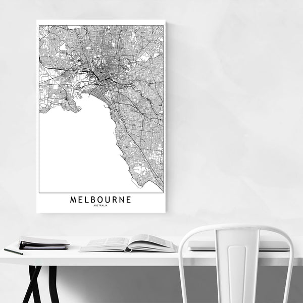 Melbourne Black & White City Map Art Print