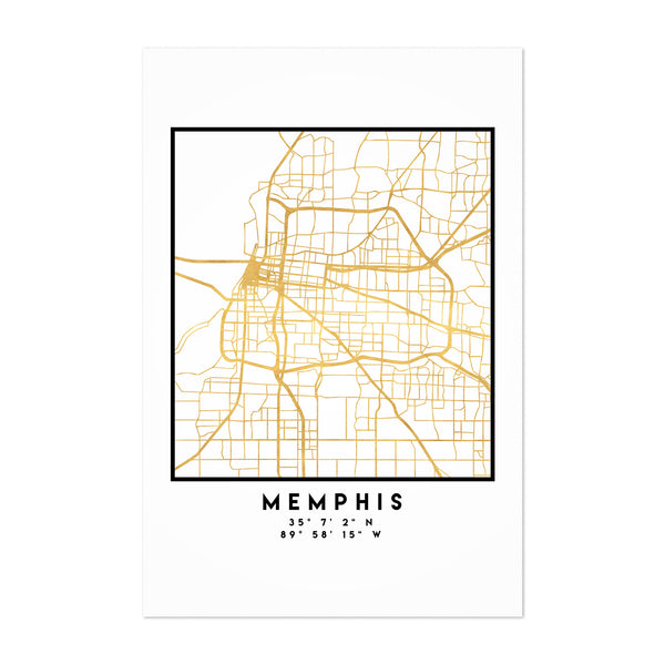 Minimal Memphis City Map Art Print