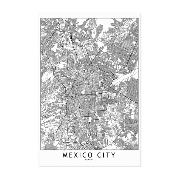 Mexico City Black & White Map Art Print