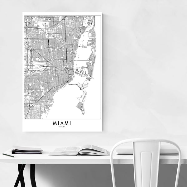 Miami Black & White City Map Art Print