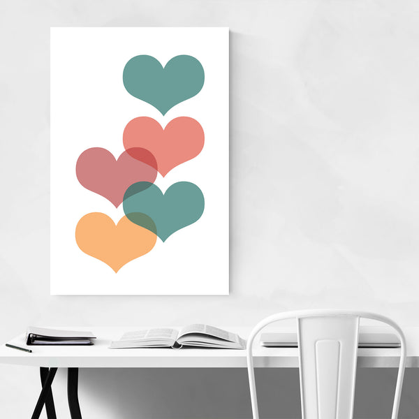 Mid Century Red & Green Hearts Art Print