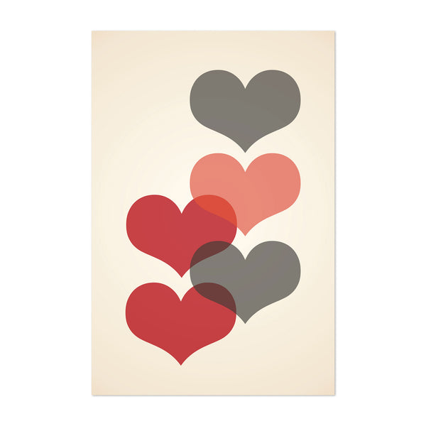 Mid Century Red & Gray Hearts Art Print