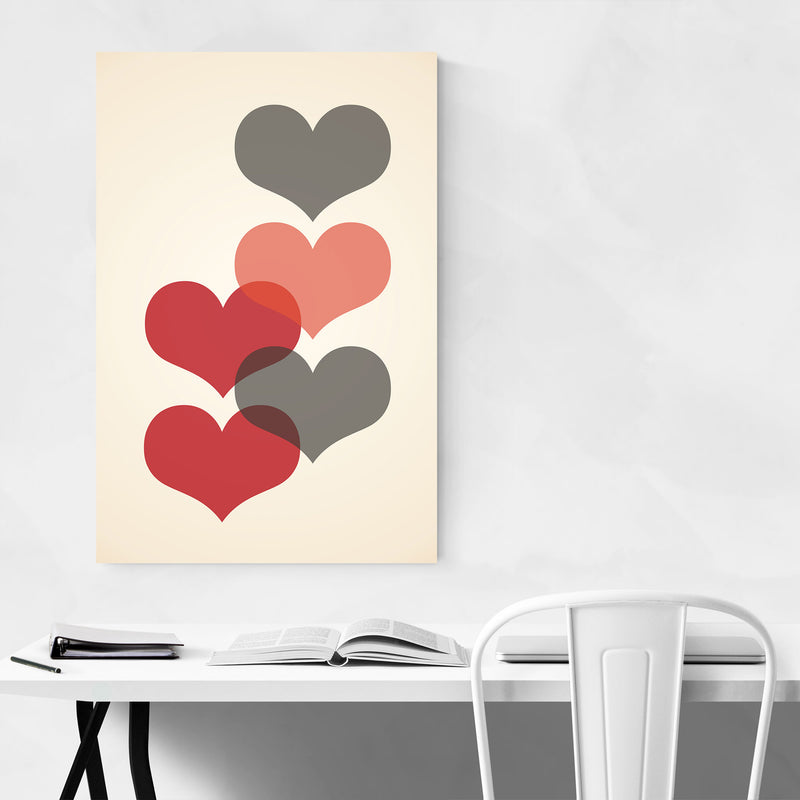 Mid Century Red & Gray Hearts Metal Art Print