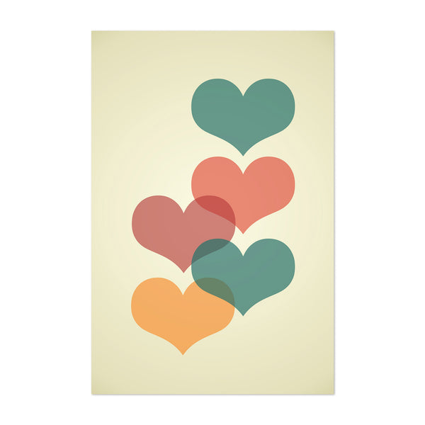 Mid Century Red & Yellow Hearts Art Print
