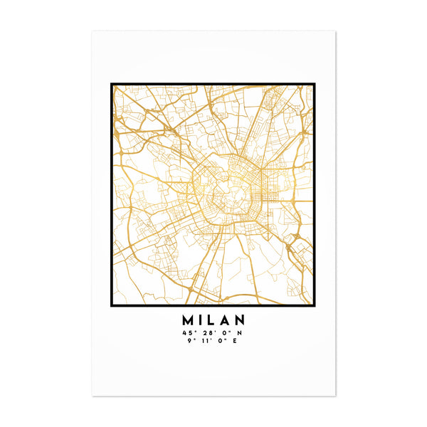 Minimal Milan City Map Art Print