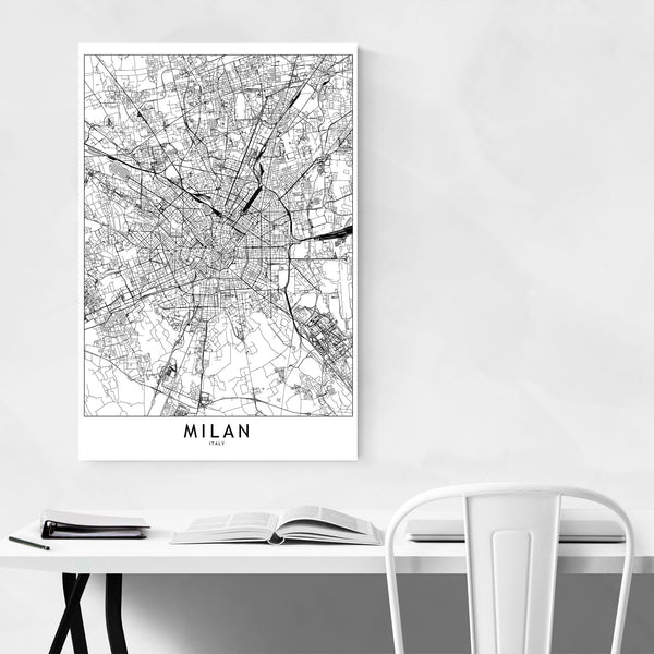 Milan Black & White City Map Art Print