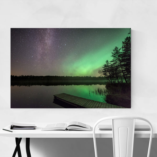 Northern Lights Sweden Lake Art Print