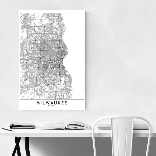 Milwaukee Black & White City Map Art Print