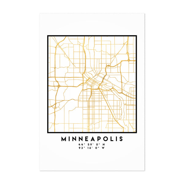 Minimal Minneapolis City Map Art Print