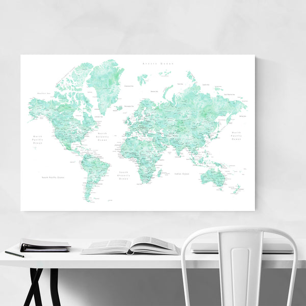 Pastel Mint Watercolor World Map Art Print