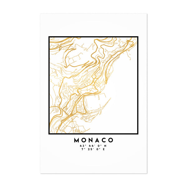 Minimal Monaco City Map Art Print