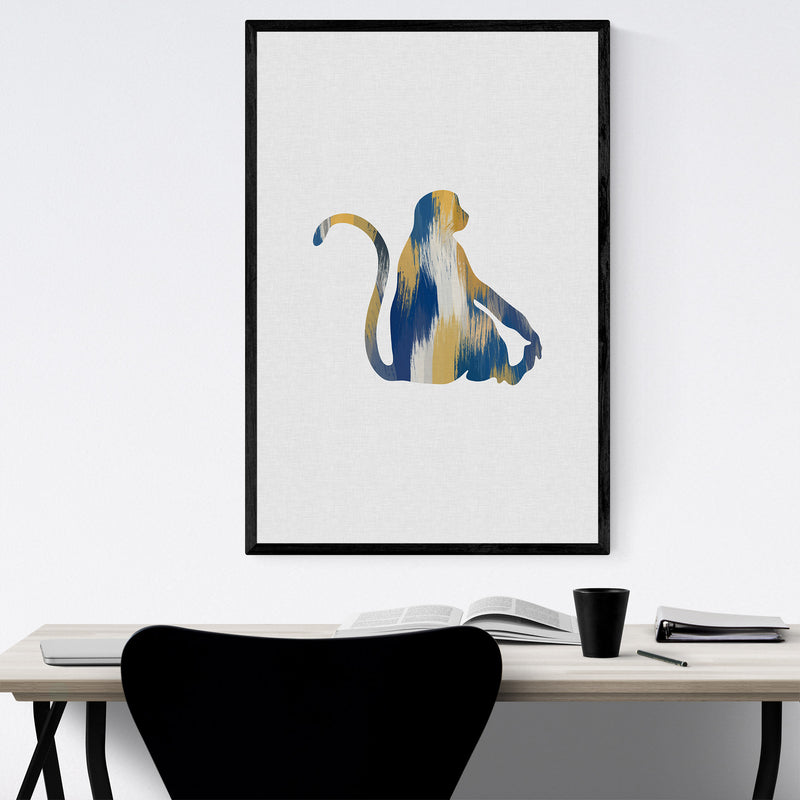 Abstract Monkey Cute Animals Framed Art Print