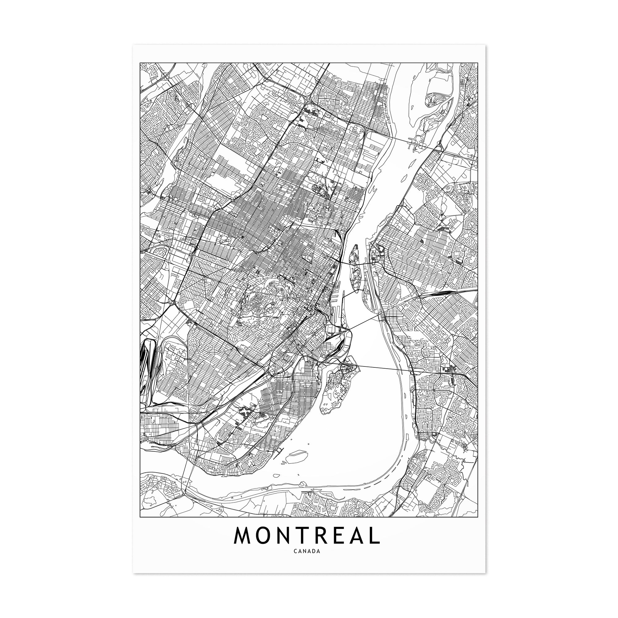 photograph relating to Printable Map of Montreal named Montreal White Map