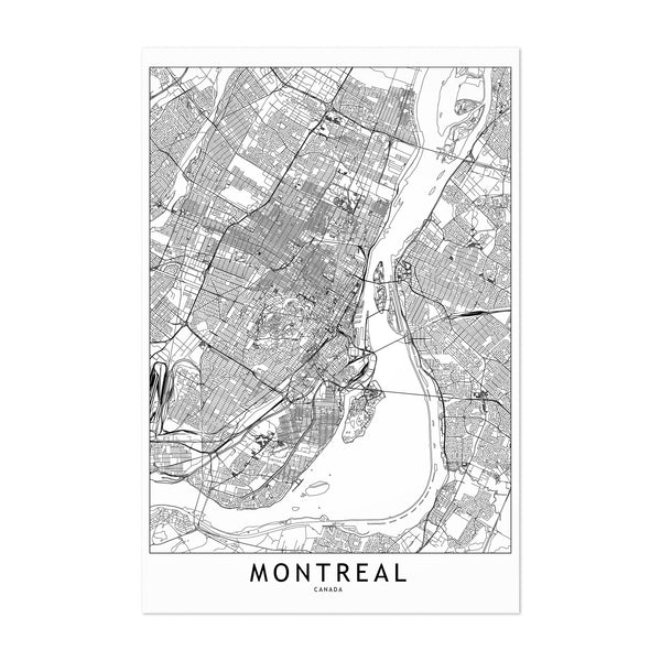 Montreal Black & White City Map Art Print