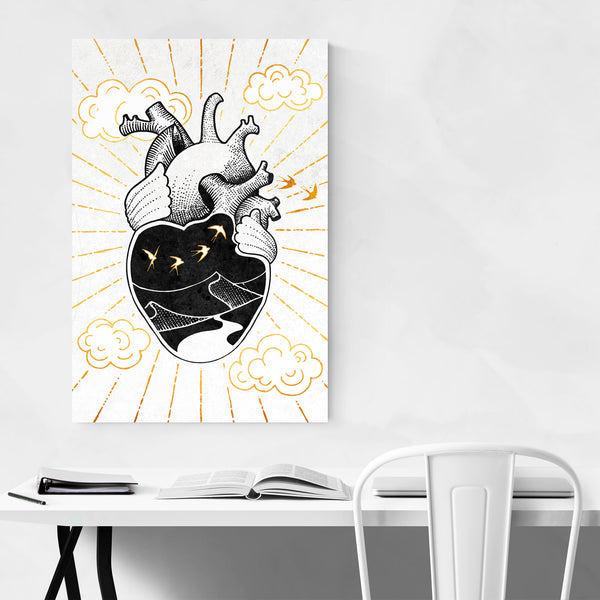 Gold Heart Abstract Anatomy Art Print