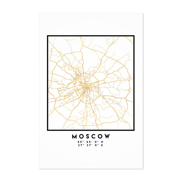 Minimal Moscow City Map Art Print