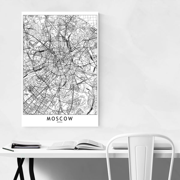 Moscow Black & White City Map Art Print