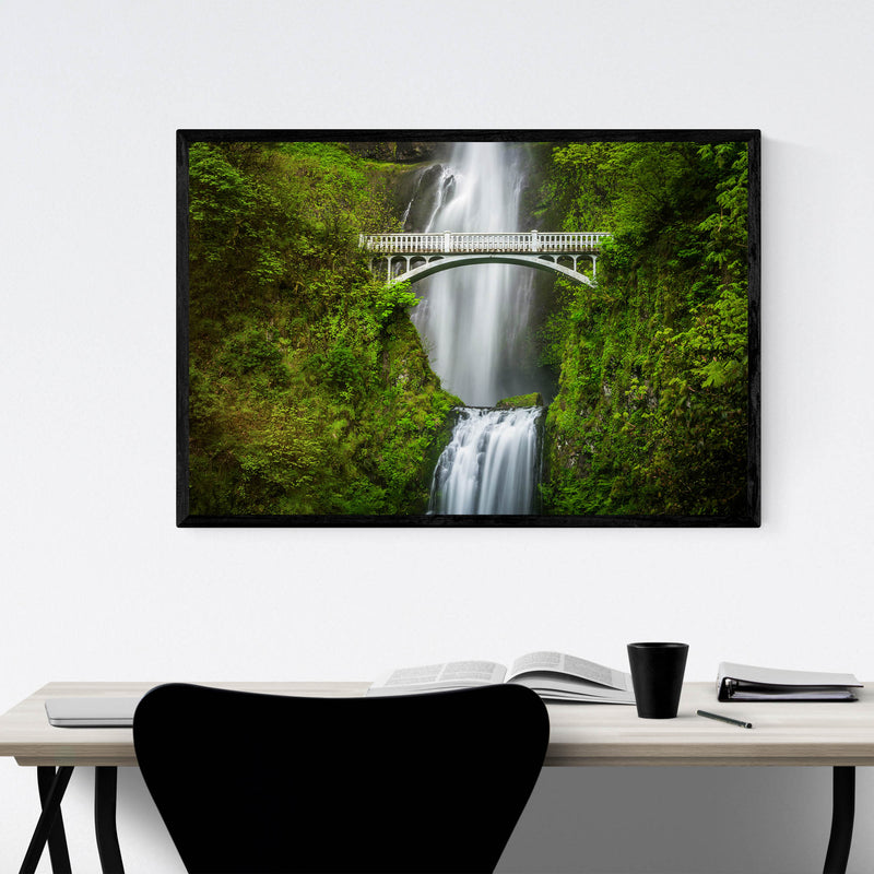 Multnomah Falls Bridge Oregon Framed Art Print