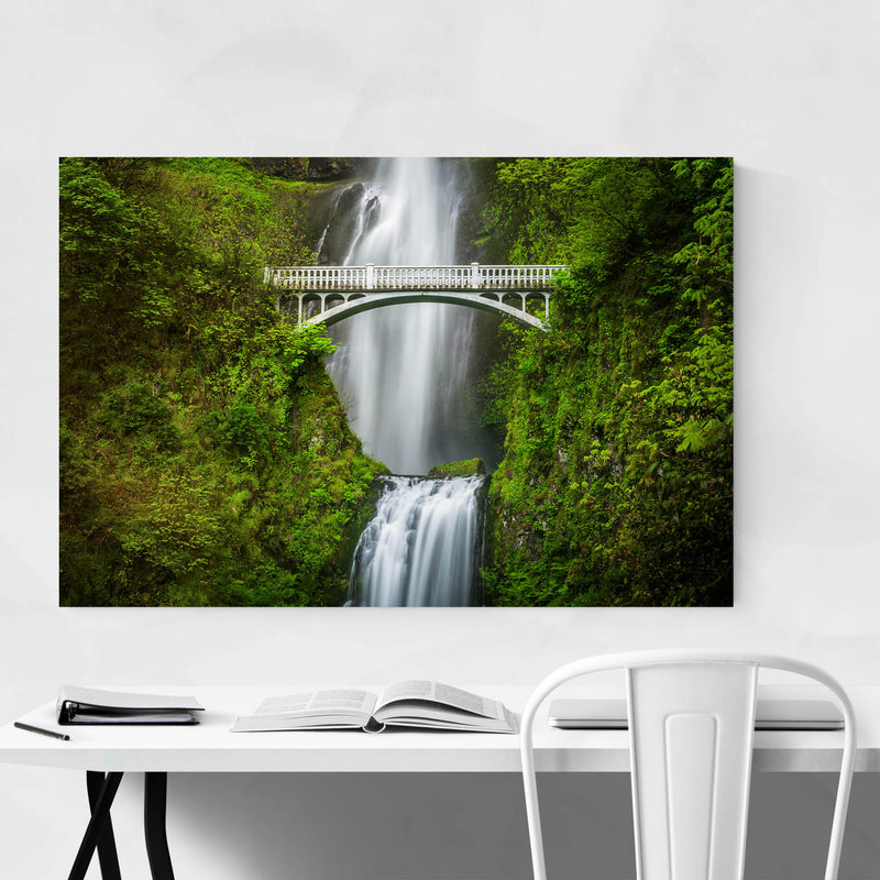 Multnomah Falls Bridge Oregon Metal Art Print
