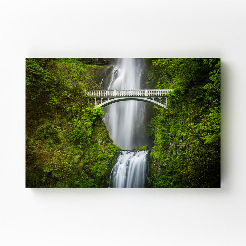 Multnomah Falls Bridge Oregon Canvas Art Print