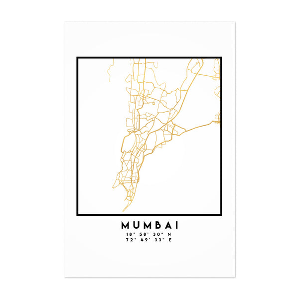 Minimal Mumbai City Map Art Print
