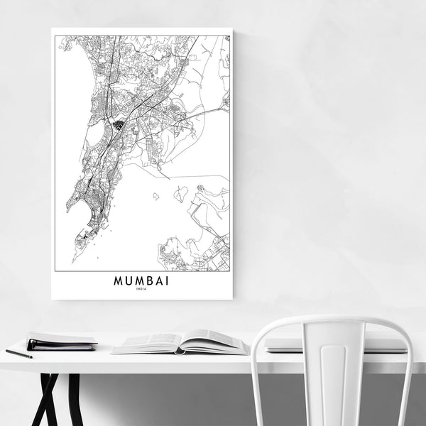 Mumbai Black & White City Map Art Print