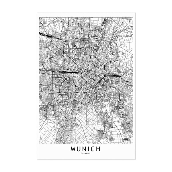 Munich Black & White City Map Art Print
